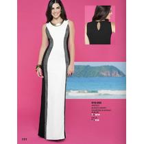 Vestido Elegante Blanco-negro Corte Sirena Sexy Ala Moda
