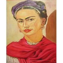 Retrato Frida Kahlo, Pintura Oleo Original, Arte Bastidor