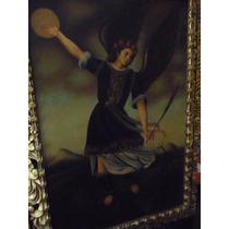 Pintura San Miguel Óleo Sobre Tela Mide 60x90 Cm