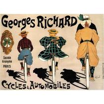 Lienzo Tela Poster Bicicleta Autos Georges Paris 50 X 68 Cm