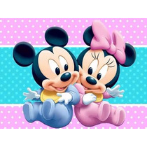 Kit Imprimible Mickey Y Minnie Bebe, Invitaciones Y Cajitas