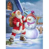 Navidad Santa Claus Y Muñeco De Nieve De La Bandera Verde S