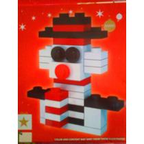 Figura De Mono De Nieve De Navidad Armable De Cubitos