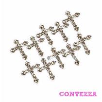 10pz Metal Uñas Acrilico Gel Cruz Religion Piedras Swarovski