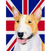 Bull Terrier Inglés Con Union Jack Británica Bandera De La