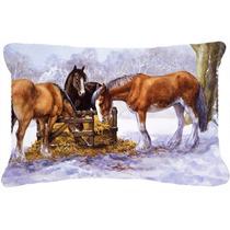 Caballos Que Comen El Heno En La Nieve Tela Almohada Decorat