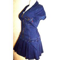 Mini Vestido Tableado Mezclilla Stretch Y Tallas Extras Mdn