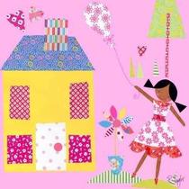 Oopsy Tejado Margarita Pequeñas Casas Púrpura Estirada Arte