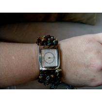 Hermoso Reloj De Cuarzo Con Piedras Ojo De Tigre Naturales