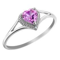 Creado Anillo Corazón Zafiro Rosa Con Diamond 2/3 Carat (ct