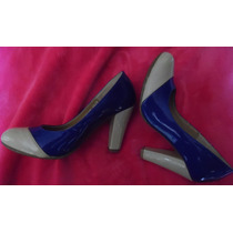 Zapato Capa De Ozono Beige Azul T-25 Charol Remate