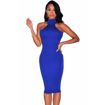 Sexy Mini Vestido Azul Fiesta Cuello Alto Hombros Desnudos