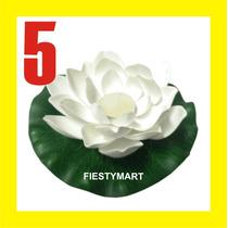 5 Flor De Loto Flotante Blanca Boda Xv Fiesta Alberca Vela