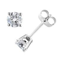 Diamante Pendientes 1/2 Carat (ctw) En 14k Oro Blanco