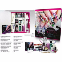 Kit Acrilico Profesional Uñas Con Dvd Mia Secret +lampara Uv