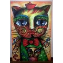Oleo Gata Protectora Artista Cubano Carlos Cesar Román