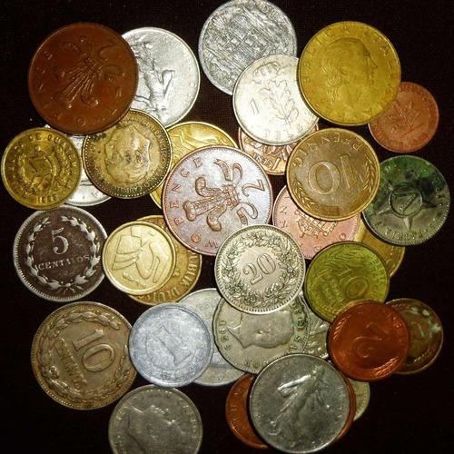 Lote 25 Monedas Extranjeras Todas Distintas Diferentes Mundo