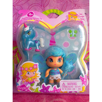 Pinypon Set De Figura De Hada Y Unicornio Azul