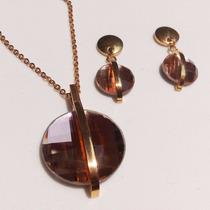 Genial Collar Cristal Austriaco + Aretes Regalo Baño Oro