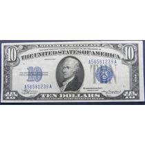 Billete De Usa $ 10 Dollar 1934 Sello Azul S/circ Cert Plata
