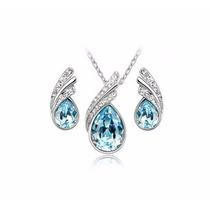 Aretes Y Collar Chapa De Oro Con Cristales Swa Super Precio