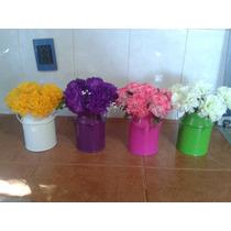 Macetas Lecheras Con Flores Artificiales Mdn