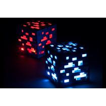 Luz De Noche Tap Light Minecraft Cuadro Azul & Rojo Lamp E4f