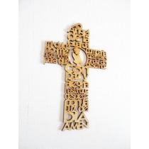 Cruz 15cm Angel Guarda Con Imagen Central Niña Recuerdos Mdf