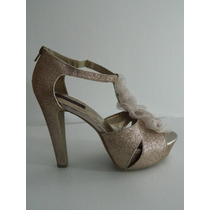 Material Girl Sparkly Nude Open Pumps 10 Usa