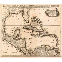 Lienzo Tela Mapa México Mar Caribe Florida Cuba 1696 50x59cm