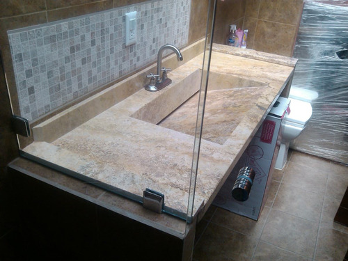 Lavabo de marmol travertino lavabos a mxn 3900 en for Marmol travertino precio