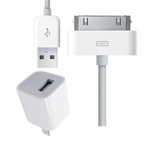 2x1 Cargador Pared Y Cable Datos Para Iphone 4/4s/3 Y Ipod