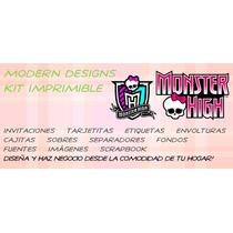 Kit Imprimible Monster High Adornos Invitaciones Y+