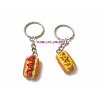 Llaveros Hot Dogs Miniatura Pareja Amor Amistad Best Friend
