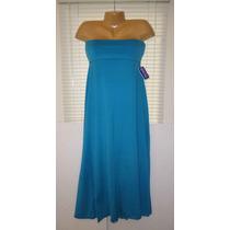 Vestido Strapples Stretch M Mediano Convertible Falda Azul!!