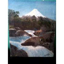 Remate Pintura Al Oleo Paisaje Montaña Rio Cascada Dmm