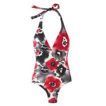 Traje Tipo Halter Color Negro / Rojo / Gris Floral