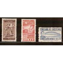 1950 Ferrocaril Del Sureste 3 Sellos Nuevos