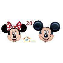 Globo Minnie Y Mickey Cabeza Gugante,moño Rojo,fiesta,globo.