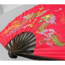Abanico Rojo De Bambu Funcional Para Entrenamiento De Taichi