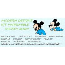 Kit Imprimible Mickey Baby Adornos Invitaciones Recuerdos Y+