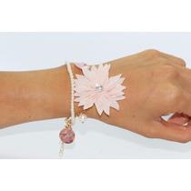 Pulsera Casual Listón Perlas Y Flor Rosa Pc158