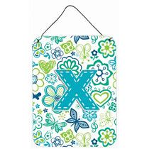 Flores De La Letra X Y Mariposas Azul Del Trullo Pared O Pue