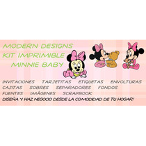 Kit Imprimible Minnie Baby Adornos Invitaciones Recuerdos Y+