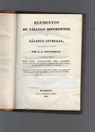 Libro antiguo 1834 elementos de calculo diferencial 2000 - Libros antiguos valor ...