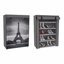 Zapatera Funda Torre Eiffel 5 Repisas Tela 15 Pares Zapatos