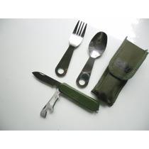 Kit De Navaja Con Cubiertos Militar Con Funda Dmm