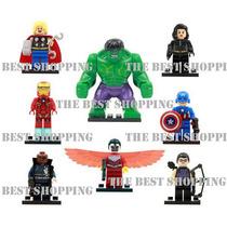 Set 8 Figuras Compatible Lego Avengers Hulk Iron Man Falcon
