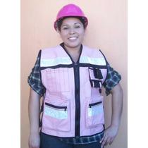 Chaleco Gabardina Color Rosa Ingeniera Arquitecta Proteccion
