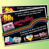 Invitaciones Retro - Fiesta 80